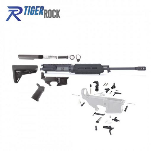 AR-15 Rifle Build Kit with Magpul Black Stock and Magpul MLOK Black Handguard