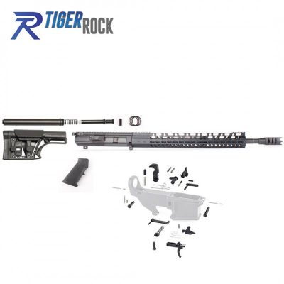 AR10 .308 Rifle Kit with Complete Upper Build with 18″ Black Nitride Barrel,  15″ Handguard , Upper, LPK and MBA-1 Rifle Buttstock Kit,