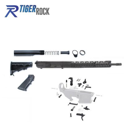 AR10 .308 Rifle Kit with Complete Upper Build with 18″ Parkerized Barrel, BCG, Upper, Lower Part Kit and 15″ Handguard
