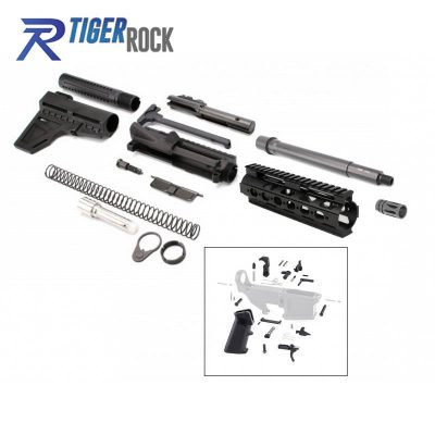 AR 9MM 8.5″ Pistol Kit with Shavewave Stock Kit, 8.5″ Barrel, 7″ Super Slim Handguard and Lower Parts Kit