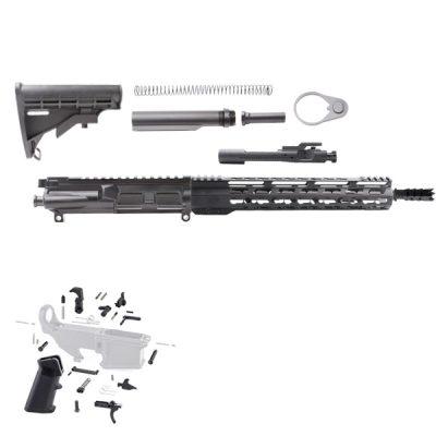 AR15 AND AR 9MM 16″ RIFLE BUILDS KIT W/12″ SUPER SLIM KEYMOD HANDGUARDS LPKS STOCKS AND G-BLOCK MAGWELL ADAPTER KIT