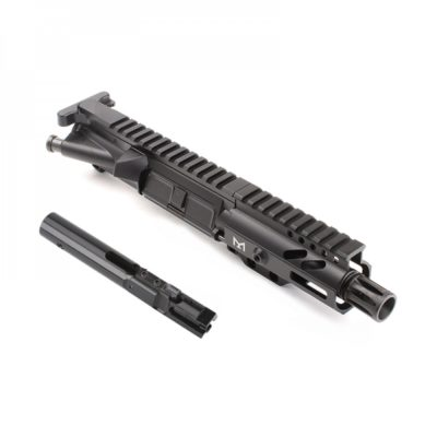 AR-9mm 4.5″ PISTOL LENGTH 1:10 TWIST W/ 4″ SUPER SLIM M-LOK HANDGUARD – COMPLETE UPPER